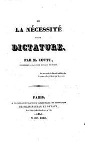 De la nécessité d'une dictatiure