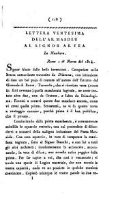 Lettera ventesima dell'ab. Masdeu al signor ab. Fea. La maschera ..