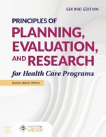 Principles of Planning  Evaluation  and Research for Health Care Programs PDF