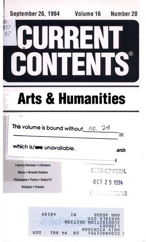 Current Contents. Arts & Humanities