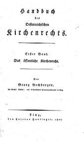 Handbuch des Oesterreichischen Kirchenrechts: Band 1