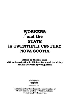 Workers and the State in Twentieth Century Nova Scotia PDF