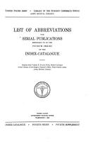 Alphabetical List of Abbreviations of Titles of Medical Periodicals Employed in the Index catalogue of the Library of the Surgeon General s Office  United States Army  from Volume I to Volume XVI  Inclusive PDF
