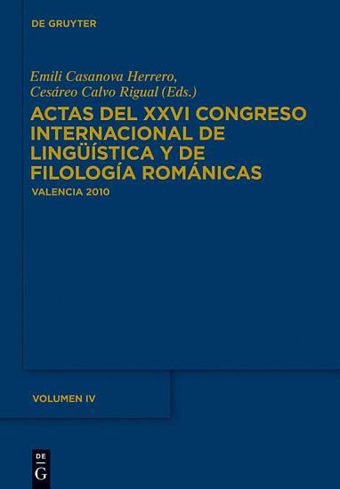 Actas del XXVI Congreso Internacional de Ling    stica y de Filolog  a Rom  nicas PDF