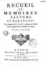 Recueil de mémoires, factums et harangues