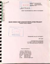 Bear Creek Dam Leakage Resolution Project: Environmental Impact Statement