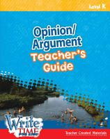 Write TIME for Kids  Level K Opinion Argument Teacher s Guide PDF