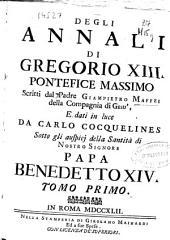 Degli Annali di Gregorio XIII Pontefice Massimo: Volume 1
