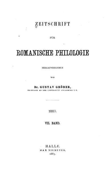 Download Zeitschrift F  r Romanische Philologie Book