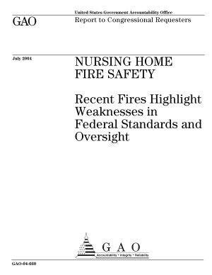 Nursing home fire safety recent fires highlight weaknesses in federal standards and oversight   report to congressional requesters