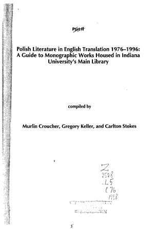 Polish Literature in English Translation  1976 1996 PDF