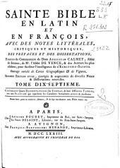 Sainte Bible en latin et en françois: avec des notes littérales, critiques et historiques ...
