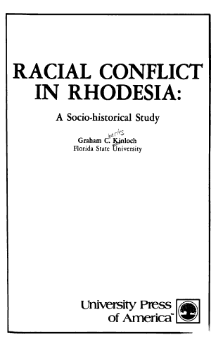 Racial Conflict in Rhodesia PDF
