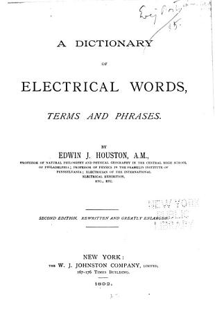 A Dictionary of Electrical Words  Terms and Phrases PDF