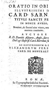 Oratio in obitum card. Sarnani tituli St. Petri in monte aureo (etc.)
