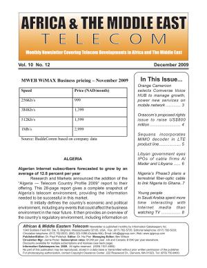 Africa   Mideast Telecom Monthly Newsletter December 2009 PDF