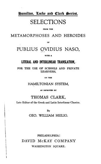 Selections from the Metamorphoses and Heroides of Publius Ovidius Naso PDF