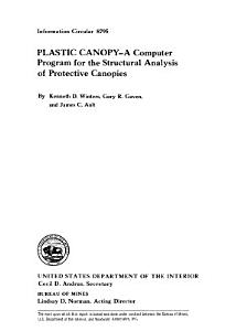 PLASTIC CANOPY  a Computer Program for the Structural Analysis of Protective Canopies PDF