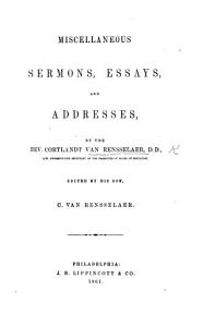 Miscellaneous sermons  essays  and addresses     Edited by     C  van Rensselaer PDF