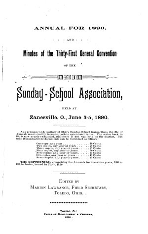 Narrative of the     General Convention of the Ohio Sunday School Association