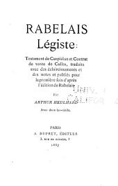 Rabelais, légiste: Testament de Cuspidius et Contrat de vente de Culita