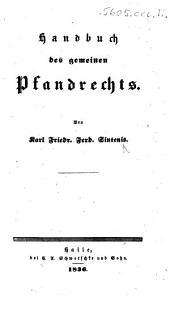 Handbuch des gemeinen Pfandrechts