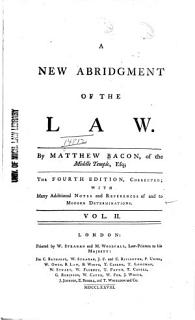A New Abridgment of the Law Book