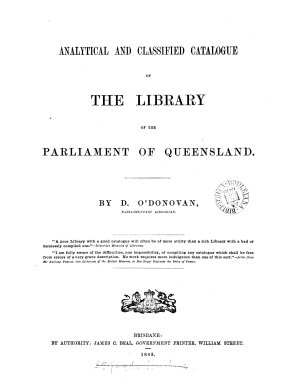 Analytical and Classified Catalogue of the Library of the Parliament of Queensland PDF