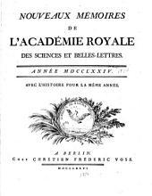 Nouveaux mémoires de l'Académie royale des sciences et belles-lettres: avec l'histoire pour la même année
