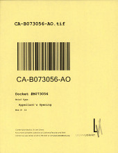 California. Court of Appeal (2nd Appellate District). Records and Briefs: B073056, Appellant's Opening
