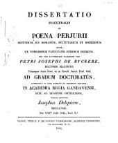 Dissertatio inauguralis De poena perjurii secundum jus Romanum, statutarium et hodiernum