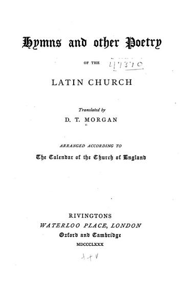 Hymns and Other Poetry of the Latin Church PDF