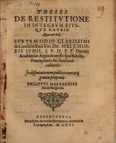 Theses de restitutione in integrum, eiusque causis