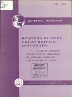 Western Europe  Great Britain and Canada PDF