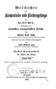 Geschichte des Kirchenlieds und Kirchengesangs der christlichen  insbesondere der deutschen evangelischen Kirche PDF