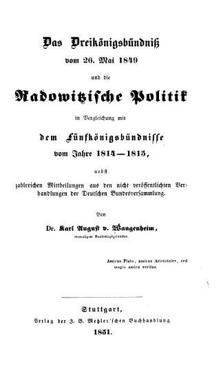 Das Dreik  nigsb  ndniss vom 26  Mai 1849 und die Radowitzische Politik PDF