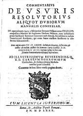 Commentarius de usuris resolutorius aliquot dubiorum Manualis confessar