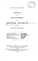 Catalogue of Additions to the Manuscripts in the British Museum in the Years     PDF