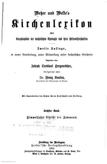 Wetzer und Welte s Kirchenlexikon PDF