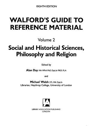 Walford s Guide to Reference Material  Social and historical sciences  philosophy and religion PDF