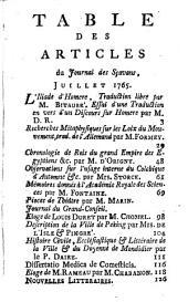 Journal des sçavans: 1765, 9/10. Août/Sept.