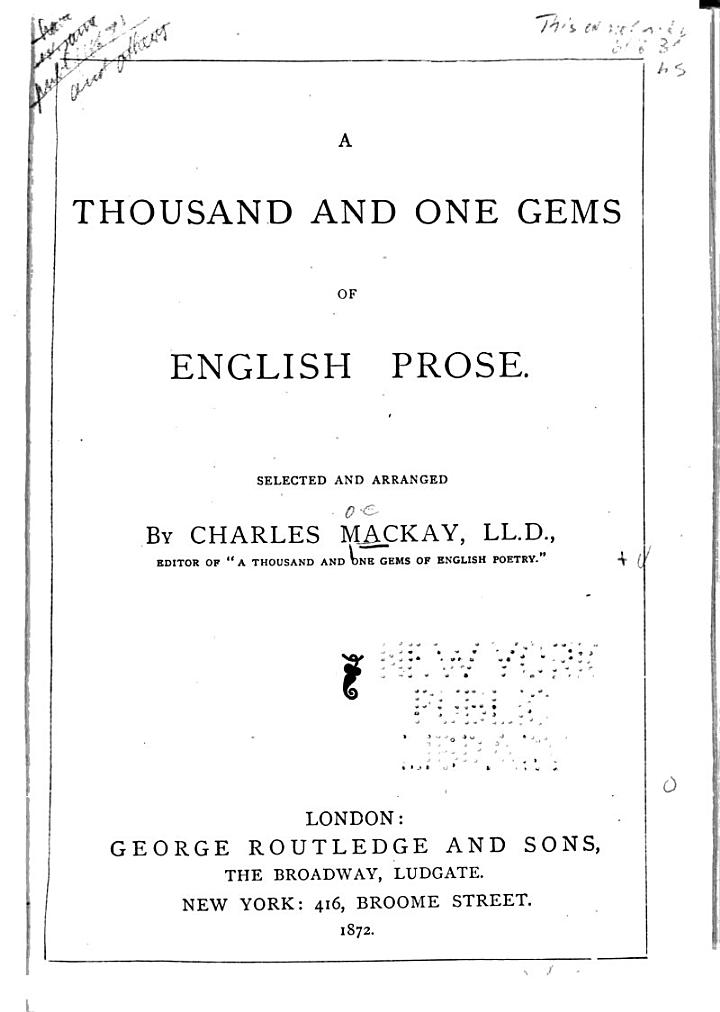 A Thousand and One Gems of English Prose