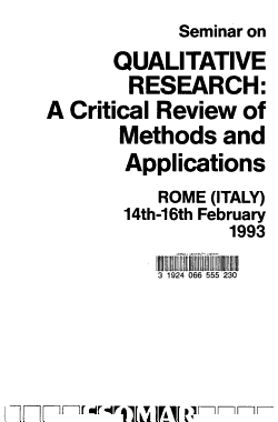 Seminar on Qualitative Research  a Critical Review of Methods and Applications  Rome  Italy   14th 16th February  1993 PDF