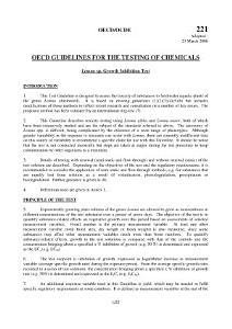 OECD Guidelines for the Testing of Chemicals  Section 2 Test No  221  Lemna sp  Growth Inhibition Test PDF