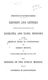 Reports and letters connected with special meetings of the Mahratta and Tamil missions ...