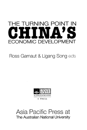 The Turning Point in China s Economic Development PDF