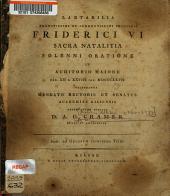 Laetibilia Augustissimi et Clementissimi Principis Friderici VI sacra natalitia