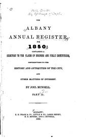 The Albany Annual Register for 1849-1850: Part 2