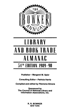 The Bowker Annual of Library and Book Trade Information PDF