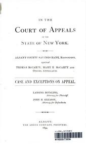 Albany County Savings Bank, Against Thomas McCarty, Mary E McCarty and Others